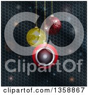 Clipart Of 3d Suspended Sparkly And Speaker Christmas Baubles Over Metal Honeycomb With Flares Royalty Free Vector Illustration