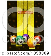 Clipart Of 3d Colorful Bingo Or Lottery Balls Over Golden Stripes With Merry Christmas Text Royalty Free Vector Illustration by elaineitalia