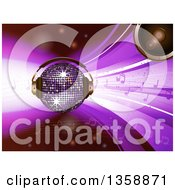 Clipart Of A 3d Sparkling Disco Ball With A Speaker Headphones And Music Notes Over Purple Waves Royalty Free Vector Illustration