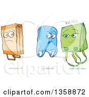 Cartoon Sketched Plastic And Fabric Shopping Bags Criticizing A Paper Bag