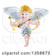 Clipart Of A Happy Blond Caucasian Valentines Day Cupid Holding A Gold Heart Arrow And Bow Royalty Free Vector Illustration