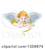 Happy Blond Caucasian Valentines Day Cupid Aiming A Gold Heart Arrow With His Bow Over A Sign