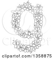 Clipart Of A Black And White Lineart Floral Lowercase Alphabet Letter G Royalty Free Vector Illustration
