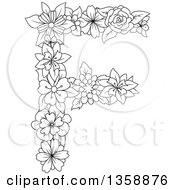 Clipart Of A Black And White Lineart Floral Uppercase Alphabet Letter F Royalty Free Vector Illustration