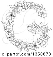 Clipart Of A Black And White Lineart Floral Uppercase Alphabet Letter G Royalty Free Vector Illustration