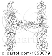 Clipart Of A Black And White Lineart Floral Uppercase Alphabet Letter H Royalty Free Vector Illustration