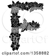 Clipart Of A Black And White Floral Uppercase Alphabet Letter F Royalty Free Vector Illustration