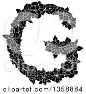 Clipart Of A Black And White Floral Uppercase Alphabet Letter G Royalty Free Vector Illustration