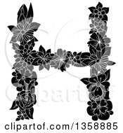 Clipart Of A Black And White Floral Uppercase Alphabet Letter H Royalty Free Vector Illustration