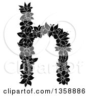 Clipart Of A Black And White Floral Lowercase Alphabet Letter H Royalty Free Vector Illustration