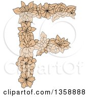 Clipart Of A Tan Floral Uppercase Alphabet Letter F Royalty Free Vector Illustration