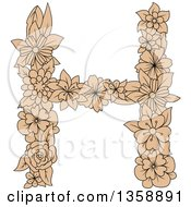 Clipart Of A Tan Floral Uppercase Alphabet Letter H Royalty Free Vector Illustration