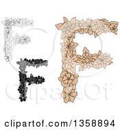 Clipart Of Tan And Black And White Floral Uppercase Alphabet Letter F Designs Royalty Free Vector Illustration