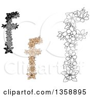 Clipart Of Tan And Black And White Floral Lowercase Alphabet Letter F Designs Royalty Free Vector Illustration