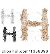Clipart Of Tan And Black And White Floral Uppercase Alphabet Letter H Designs Royalty Free Vector Illustration