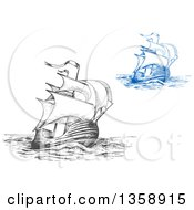 Clipart Of Sketched Gray And Blue Ships Royalty Free Vector Illustration