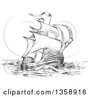 Clipart Of A Sketched Gray Ship Royalty Free Vector Illustration