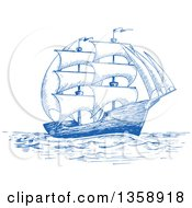 Clipart Of A Sketched Blue Ship Royalty Free Vector Illustration