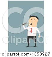 Clipart Of A Flat Design White Businessman Speaking Into A Microphone On A Blue Background Royalty Free Vector Illustration