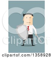 Clipart Of A Flat Design White Businessman Holding A Shield And Sword On A Blue Background Royalty Free Vector Illustration