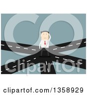 Clipart Of A Flat Design White Businessman At A Crossroads On A Blue Background Royalty Free Vector Illustration by Vector Tradition SM
