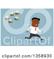 Clipart Of A Flat Design Black Business Man Running From Bees On A Blue Background Royalty Free Vector Illustration by Vector Tradition SM