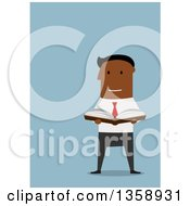 Clipart Of A Flat Design Black Business Man Holding An Open Book On A Blue Background Royalty Free Vector Illustration