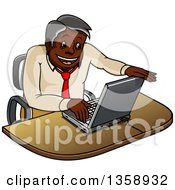 Clipart Of A Cartoon Happy Black Businessman Opening A Laptop Computer Royalty Free Vector Illustration