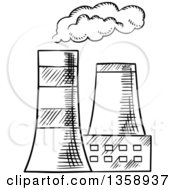 Clipart Of Black And White Sketched Cooling Towers Royalty Free Vector Illustration