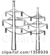 Clipart Of Black And White Sketched Power Lines Royalty Free Vector Illustration