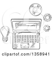 Black And White Sketched Laptop Light Bulb Cd And Gears