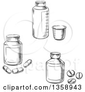 Black And White Sketched Medicine And Pill Bottles