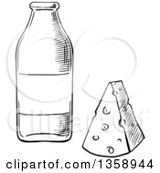 Clipart Of A Black And White Sketched Milk Bottle And Cheese Wedge Royalty Free Vector Illustration