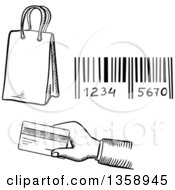 Black And White Sketched Shopping Bag Bar Code And Hand Holding Out A Credit Card