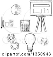 Clipart Of Black And White Sketched Charts Graphs Calculator And Gears Royalty Free Vector Illustration by Vector Tradition SM