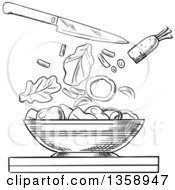 Clipart Of A Black And White Sketched Salad Bowl With A Knife And Chopped Veggies Above Royalty Free Vector Illustration