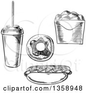 Clipart Of A Black And White Sketched Soda Donut Hot Dog And Take Out Container Royalty Free Vector Illustration by Vector Tradition SM