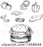 Clipart Of A Black And White Sketched Cheeseburger And Toppings Royalty Free Vector Illustration