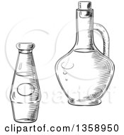 Clipart Of Black And White Sketched Olive Oil And Tomato Sauce Bottles Royalty Free Vector Illustration