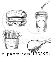 Clipart Of A Black And White Sketched Hamburger Fountain Soda French Fries And Chicken Drumstick Royalty Free Vector Illustration by Vector Tradition SM