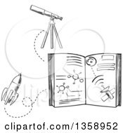 Clipart Of A Black And White Sketched Astronomy Book Rocket And Telescope Royalty Free Vector Illustration by Vector Tradition SM