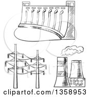 Clipart Of A Black And White Sketched Dam Cooling Towers And Power Lines Royalty Free Vector Illustration