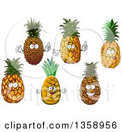 Clipart Of Cartoon Pineapple Characters Royalty Free Vector Illustration