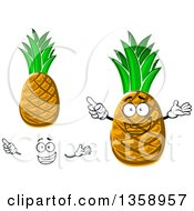 Clipart Of A Cartoon Face Hands And Pineapples Royalty Free Vector Illustration