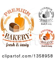 Clipart Of Bakery Text Designs With Bread Wheat And Cutting Boards Royalty Free Vector Illustration