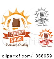 Clipart Of Bakery Text Designs With Wheat And Flour Bags Royalty Free Vector Illustration