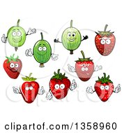 Clipart Of Cartoon Gooseberries And Strawberries Royalty Free Vector Illustration