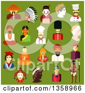 Clipart Of Flat Design People From Different Cultures Chinese Japanese Indian Native American German Italian French Russian British Australian Greek Over Green Royalty Free Vector Illustration by Vector Tradition SM