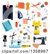 Clipart Of Flat Design Tailoring Accessories And Clothing Royalty Free Vector Illustration