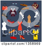 Clipart Of Flat Design Womens Clothing And Accessories Over Blue Royalty Free Vector Illustration